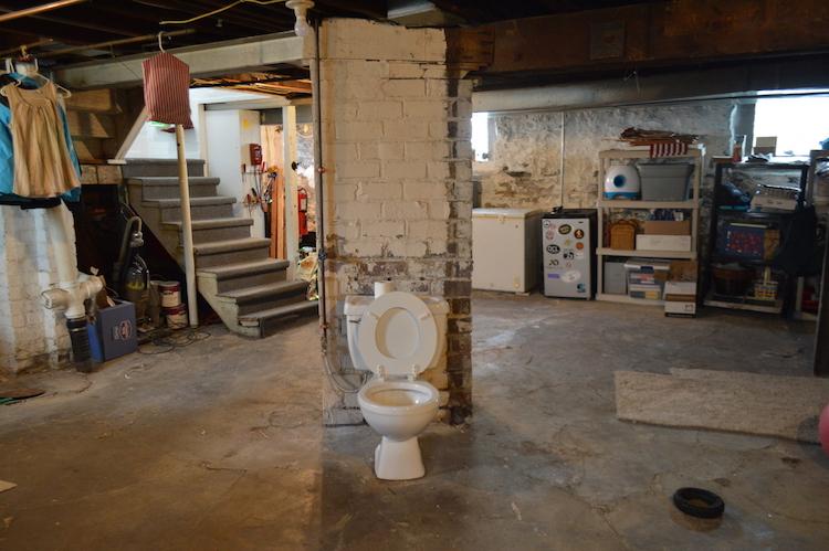 Unfinished Basement Laundry Room Cinder Blocks