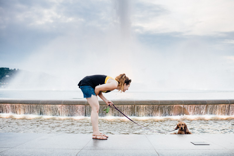 Oops! Mae jumped in the fountain in Point State Park. That's author and owner Janna Leyde with her.